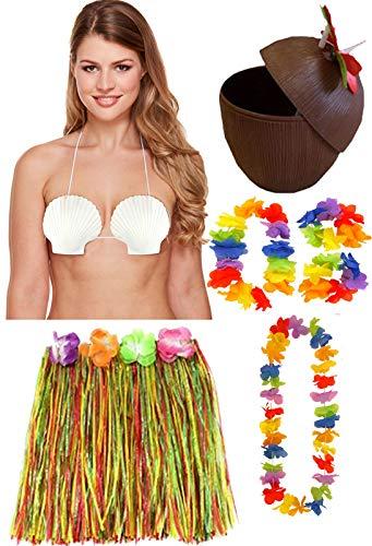 40cm Hula Rock Lei Shell Bra Coconut Cup Hawaiian Sommer Strand Party Set