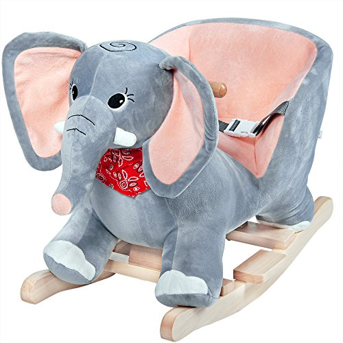 Deuba Rocking Horse 75cm with Sounds Model Choice Wooden Horse Unicorn Elephant Rocker Soft Plush Toddlers Kids Baby Children Toy