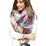 Tongshi Abrigo de la bufanda del mantón de la tela escocesa de Cozy Chequeado Mujeres Señora Manta Tartán de gran tamaño