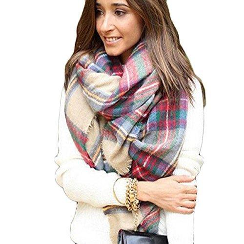 Tongshi Abrigo de la bufanda del mantón de la tela escocesa de Cozy Chequeado Mujeres Señora Manta Tartán de gran
