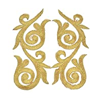 Hongma 1 Pair Applique Patches Patch Embroidered Embroidery Gold Lace Sew Iron On Patch Decor for DIY Crafts Dress