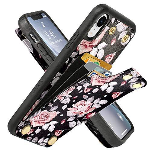 Lameeku Schutzhülle für Apple iPhone XR, stoßfest, Leder, Kreditkartenfächer, Geldfach, Schutzhülle für iPhone XR 6,1 cm (2018), White Rose Flower (Durch Flower Sehen Iphone Case 6)