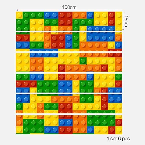 TNFUFPStickers für treppen, 6 stücke Kreative Lego Stair Stick PVC Abnehmbare DIY Selbstklebende Fliesen Wand Stick Boden Aufkleber Für Kinderzimmer Schlafzimmer Dekoration 18 * 100 cm