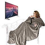 TV Decke mit Ärmeln IREGRO verdickte Flanell Kuscheldecke 1.6kg 180 x 200cm zuzüglich 50cm Fußtasche, Mikrofaserdecke Fleecedecke Wohndecke Wolldecke Snug Me Deluxe für den Winter, Unisex