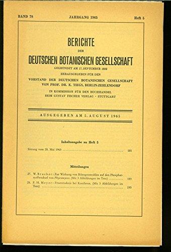 Frosttrocknis bei Koniferen, in: BERICHTE DER DEUTSCHEN BOTANISCHEN GESELLSCHAFT, Heft 5 / 1965.