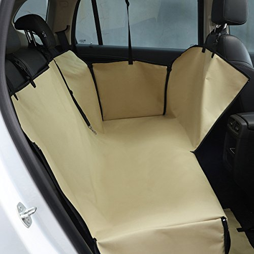 PETCUTE Hund Auto Sitzbezug Schondecken Haustiere Schutz Hängematte Abdeckung Katze Wasserdicht Rücksitzbezug mit Seitlichen Klappen