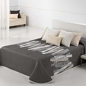Couvre-lit 250x270 cm tissé jacquard Conti gris taupé/blanc pour lit de 160x200 cm fabriqué en Espagne C/01