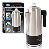 Quest 35200 Stainless Steel Cordless Electric Coffee Percolator with Integrated Filter, 1.5 Litre
