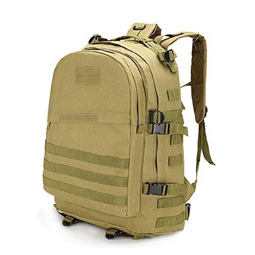 3D Taktischer Rucksack, Aussen Militaer Taktischer Rucksack Wandern Tasche Camping, 40L Herren Reisen Rucksack Sportrucksack zum Klettern Wandern Khaki