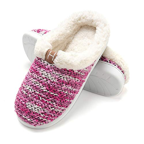HARRMS Damen Winter Hausschuhe Plüsch Warm Gefüttert Schafwolle Pantoffeln Slipper Rutschfest Fleece-Futter Slipper Fell Slipper Kuschelig Indoor Gestrickt,Lavender,42/43 EU