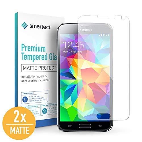 smartect Mattes Panzerglas für Samsung Galaxy S5 / S5 NEO [2X MATT] - Bildschirmschutz mit 9H Härte - Blasenfreie Schutzfolie - Anti Fingerprint Panzerglasfolie
