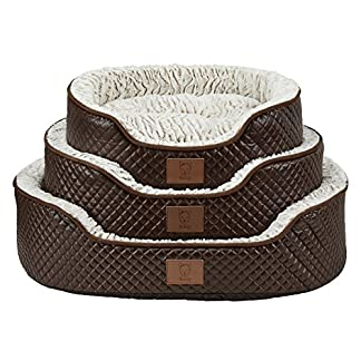 Bunty Manhattan Luxury Quilted Leather Soft Fur Fleece Dog Bed Pet Cat Basket 51HpdoVvibL