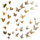 36pcs Mariposas Decoración Pared Pegatina 3D Decorativa para Hogar Oficina Bar Pared Color Plata 3...