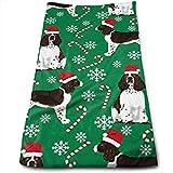 Doormat-bag English Springer Spaniel Santa Christmas Cotton Bath Towels for Hotel-Spa-Pool-Gym-Bathroom - Super Soft Abs