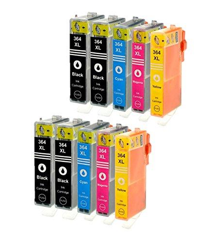 Azprint 10-Pack Kompatibel Druckerpatronen HP 364 XL 364XL Multipack für HP Photosmart 7510, 7520, 5510, 5514, 5515, 5520, 5522, 5524, 5525, 6510, 6520, HP Deskjet 3070, 3520 e, 3524, 4620 Drucker   2 Schwarz, 2 Foto Schwarz, 2 Blau, 2 Rot, 2 Gelb