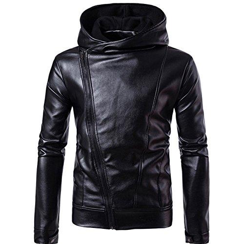 Kaiki Männer Künstliche Leder jacke Windbreaker Herbst Winter Biker Motorrad Reißverschluss Outwear Warm Mantel (L, Black)