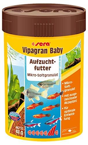 sera Vipagran Baby ein Mikro-Granulat für Jungtiere & kleinere Fische wie Bärblinge bzw. Salmler mit Präbiotika für verbesserte Futterverwertung, geringere Wasserbelastung & weniger Algen im Aquarium -