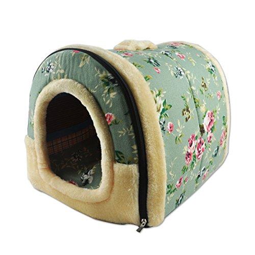ANPI 2 In 1 Haustier Haus und Sofa, Maschinenwaschbar Anti-Rutsch Faltbare Weich Warm Hund Katze Hündchen Kaninchen Haustier Nest Höhle Bett Haus mit Abnehmbarem Kissen, 3 Größen (Medium, Blumenmuster) (Haus Haustier Hund Bett)