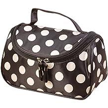 TININNA Moda CosméTicos Bolsa,Polka Dot cosméticos bolsas Makeup Bag de mano mujeres maquillaje cosmético bolso organizador de bolsa de aseo.-Negro Punto blanco