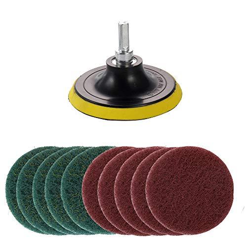 Kagni 10 Piezas de Estropajo para Taladro Electrico Cepillo Limpieza, Incluye Accesorio para Taladro, 5 Almohadillas Rojas Sin Rasguño y 5 Almohadillas Verdes Rigidas, para la Limpieza del Hogar