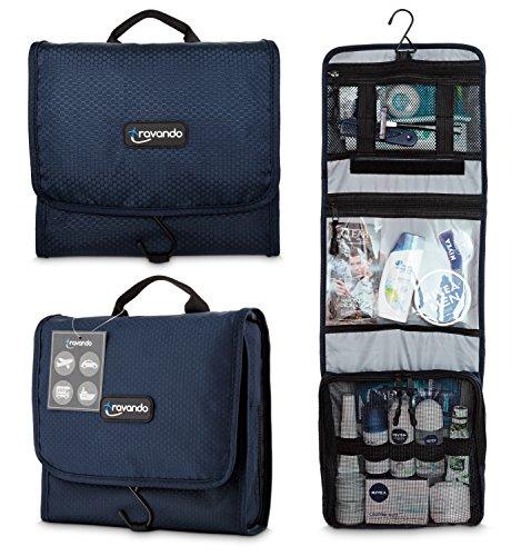 Travando ® Premium Kulturtasche zum Aufhängen | Faltbarer Reise Kulturbeutel | Multifunktionale Toilettentasche | Wasserresistente Waschtasche für Herren, Damen (Marineblau)