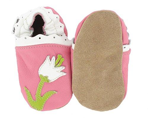 HOBEA-Germany Krabbelschuhe Erdbeere, Chaussures Bébé quatre pattes (1-10 mois) mixte bébé Blume Pink