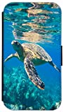 FioMi Flip Cover Hülle Samsung Galaxy S4 Mini i9190 i9195 Motiv 655 Schildkröte Wasser Blau Handy Tasche Etui Schutzhülle Flipcover Case Wallet Bookflip Buchflip (655)
