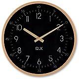 Geräuscharme Wanduhr SLIGHT - QLK, moderne Designer Wanduhr, großes Zifferblatt, 31 cm, leises Uhrwerk ohne Ticken (schwarz)