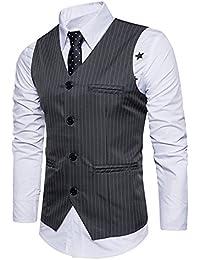 Boom Fashion Hombre Elegante Chaleco de Vestir Casual Negocio Slim Fit Traje Blazers Sin Mangas