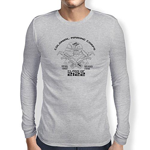 TEXLAB - Colonial Marine Corp Class of 2122 - Herren Langarm T-Shirt, Größe M, grau meliert (Colonial Marine Kostüm)