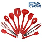 Swify 10 piezas de silicona utensilios de cocina (1 Cuchara de espagueti, 1 Paleta Ranurada, 1 Cuchara de servicio, 1 Cucharones para sopa, 1 Cuchara Ranurada, 2 Espátula de Silicona, 1 Brocha de silicona, 1 Batidora de Reposteria, 1 Pinzas Cocina)
