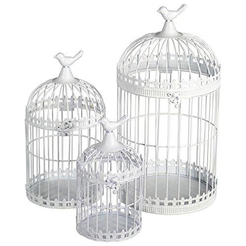 Deko Vogelkäfig im 3er Set - Metall Dekokäfig in weiß - Pflanzkäfig, Blumenkäfig