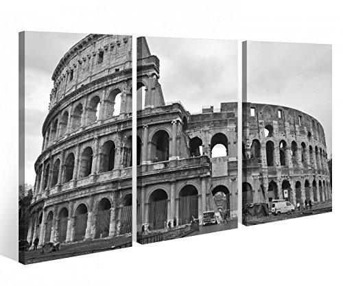 Leinwandbild 3 Tlg. Kolosseum Rom Italien Ruinen Leinwand Bild Bilder auf Keilrahmen Holz - fertig gerahmt 9O861, 3 tlg BxH:120x80cm (3Stk 40x 80cm)