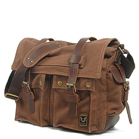 Koson-Man Unisex Vintage Durable Canvas Large Single-Shoulder Bag Messenger Bag(Coffee)