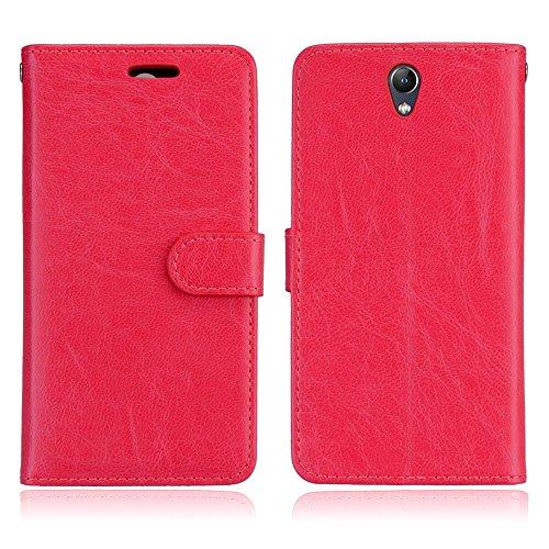 BONROY Hülle Karten-Fach 360°Book Klapp-Hülle Handytasche Kunst-Leder Handyhülle für Lenovo Vibe S1 (5 Zoll) Case Flip Cover Schutzhülle Tasche-(Dikas-3 Karte Rot)