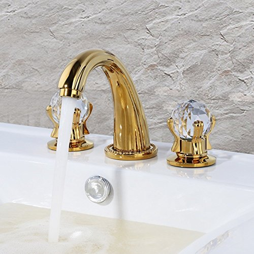 XIAOQI Crystal Gold European 3 Piece Basin Mixer Faucet