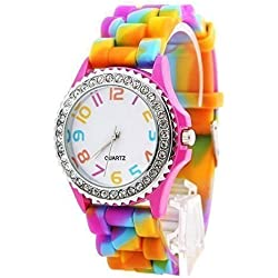 L&C®Classic Rainbow Rubber Jelly Silicone Crystal Wrist Watch Men Women Xmas Gift