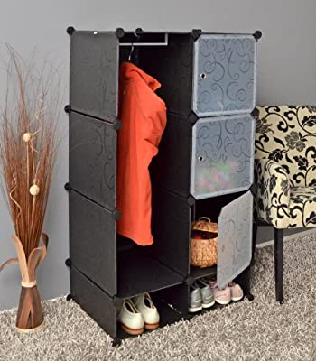 ts-ideen - Plug in shelf stacking rack shelves chest cabinet closet cupboard black - low-cost UK light shop.