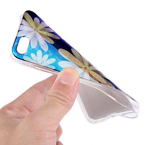 iPhone 8 Plus Hülle,iPhone 7 Plus Hülle,Schutzhülle iPhone 8 / iPhone 7 Plus Silikon Hülle,ikasus® TPU Silikon Schutzhülle Case Hülle für iPhone 8 Plus / 7 Plus,Rosen Blumen Muster Kristall Bling Glän Gänseblümchen #1