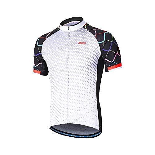 Arsuxeo Herren Radtrikot Kurzarm Mountainbike Shirt MTB Top Reißverschlusstaschen reflektierend, Herren, Z846, US L