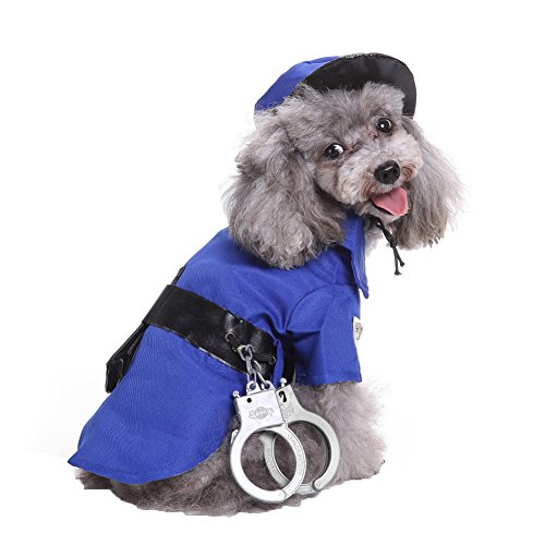 t Mini Polizei Anzug Kostüm Hat Handschellen Rollenspiele Xmas Dog Apparel (Handschellen Halloween)
