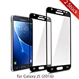 ykooe Galaxy J5 2016 Schutzfolie, (2 Stück) Panzerglas Samsung Galaxy J5 2016 Displayschutzfolie Anti-Fingerabdruck Full Coverage Screen Protector Folie für Samsung Galaxy J5 2016