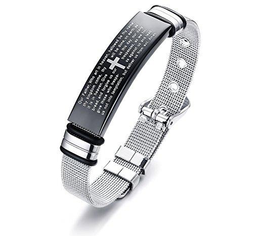 VNOX Englisch Bibel Vers Herren Gebet Kreuz Eingraviert Einstellbare Mesh Armband Armband für Männer, Christentum Religiösen Schmuck