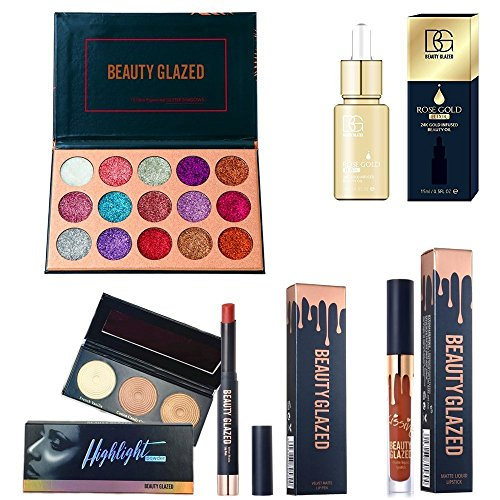 Beauty Glazed Christmas Gift Makeup Set Box 15 Couleurs Pressed Glitter Fard à Paupières Palette Matte Edition Texture Fard à Paupières Palette 24K GOLD INFUSED BEAUTY HUILE Matte Rouge à Lèvres