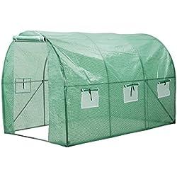 Finether Serre de Jardin Tunnel Serre de Jardin Portable Tente Abri Mobile Pour Fleur Tomates Plantes D'intérieur en Plein Air Terrasse Balcon Portable 300 x 200 x 200cm