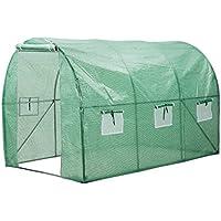 Finether Invernadero Arqueado con 6 Respiraderos de Malla y Tapa Transparente, Ideal para Jardín, Balcón, Patio etc
