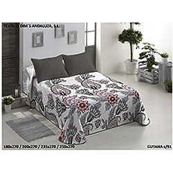 The Best Fashion House Colcha Bouti Modelo Guyana + funda cojin (2 colores y 3 tamaños disponibles) (C91, 235 x 270 cm) para cama de 135 cm