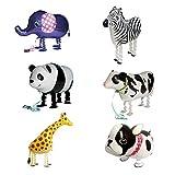 NUOLUX 6pcs para la globo animal del perro de la jirafa de la vaca de la panda de la cebra del elefante del globo de la hoja decoración del partido