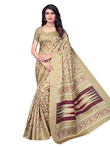Kanchnar Women's Beige Bhagalpuri Silk Printed Saree (651S2028)