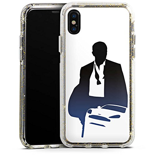 Apple iPhone 6s Plus Bumper Hülle Bumper Case Glitzer Hülle James Bond 007 Bumper Case Glitzer gold